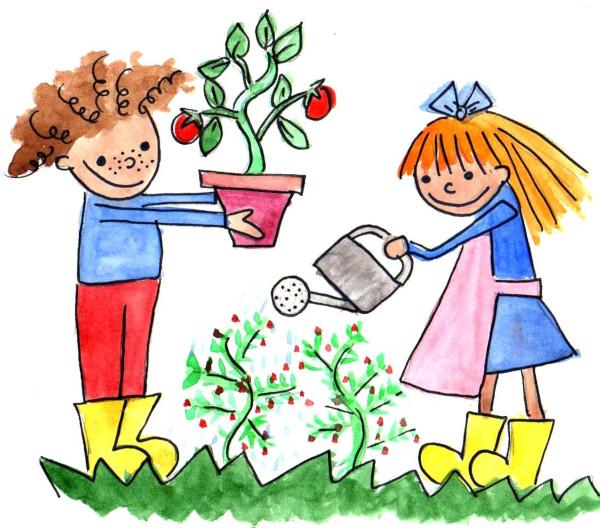 Resultado de imagen de dibujo niño en el huerto