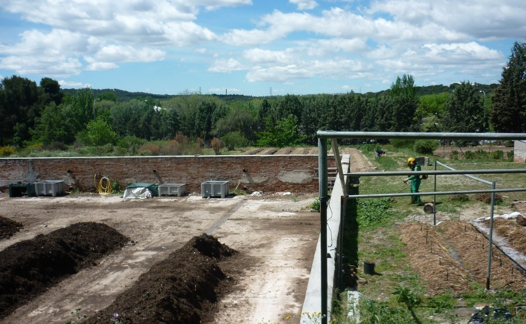 """A la izquierda, parte de la """"planta de compostaje"""" de la ETSIA. A la derecha, cordones de vermicompost en formación cubiertos de paja (está en construcción una estructura, tipo """"carpa o marquesina"""" para cubrir esta superficie."""