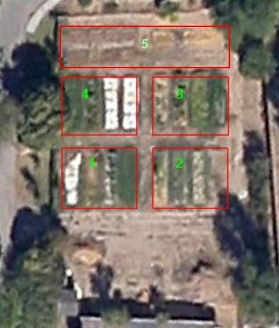 Vista aérea del huerto con las cinco zonas señalizadas