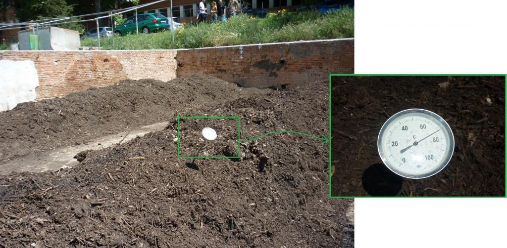 Montón de compost con termómetro