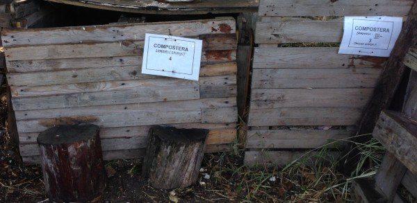 Composteras en Huerto educativo