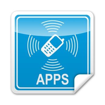 Pegatina cuadrada APPS telefonia movil con reborde