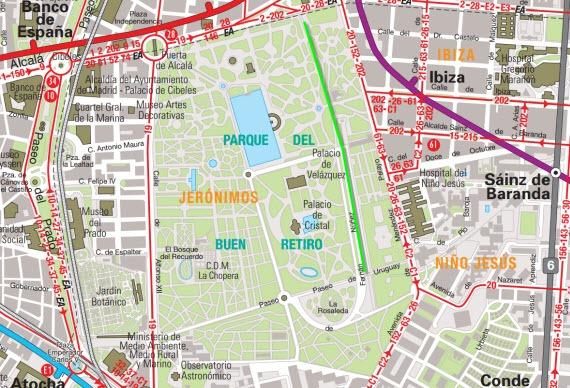 Localización de El Retiro - www.emtmadrid.es