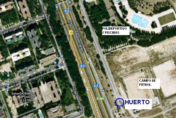 Localización del huerto de la AV La Colmena en el      barrio de Santa Eugenia (Fuente: www.huertosantaeugenia.blospot.com)