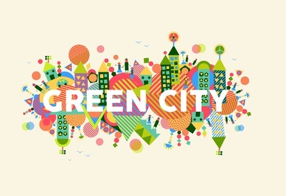Green City concept illustration. Naturación urbana