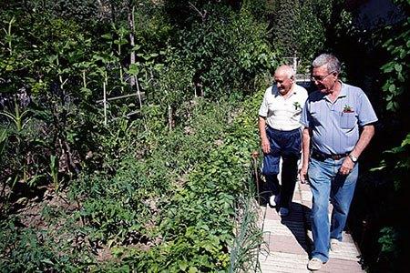 Los creadores del huerto pasean entre los cultivos (Fuente: www.paginadeldistrito.com)