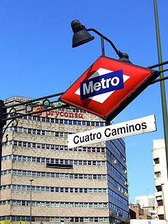 Estación de metro de Cuatro Caminos, en el Distrito de Tetuán (Madrid) (Fuente: www.wikipedia.org)